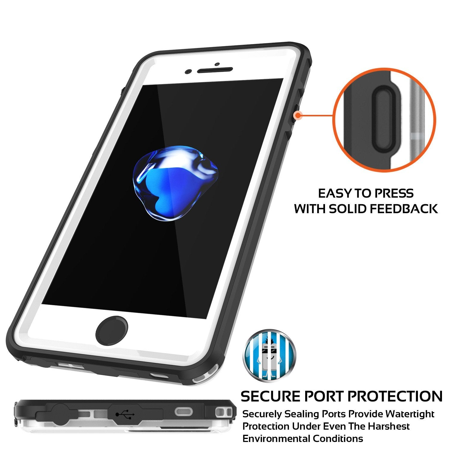 Apple iPhone 8 Waterproof Case, PUNKcase CRYSTAL White W/ Attached Screen Protector  | Warranty