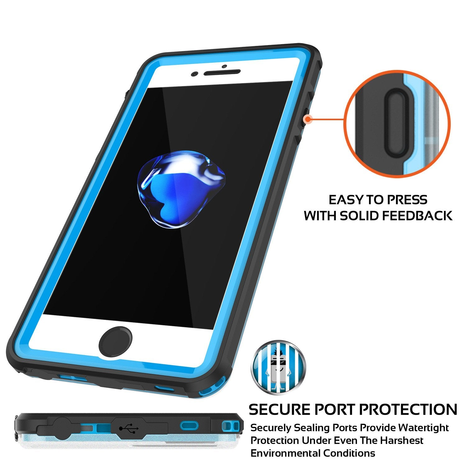 Apple iPhone 8 Waterproof Case, PUNKcase CRYSTAL Light Blue  W/ Attached Screen Protector  | Warranty