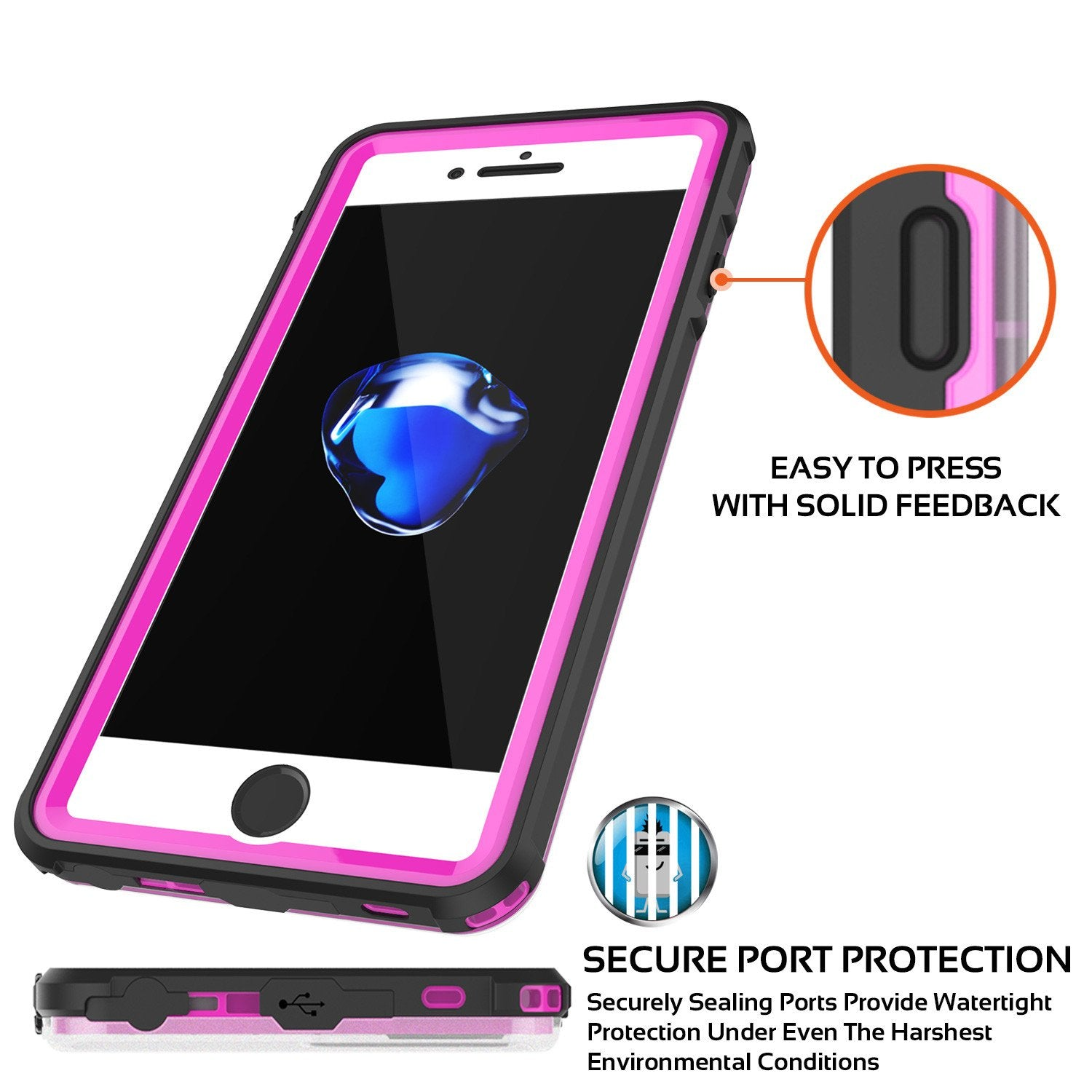iPhone 8+ Plus Waterproof Case, PUNKcase CRYSTAL Pink W/ Attached Screen Protector  | Warranty