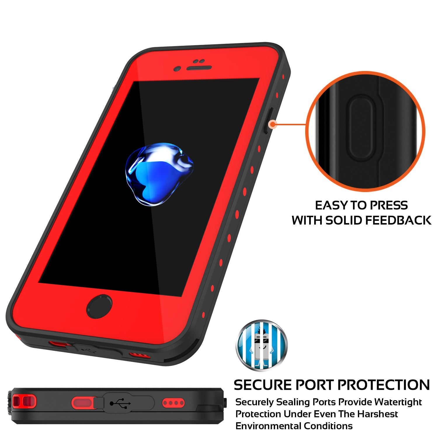 iPhone 7 Waterproof IP68 Case, Punkcase [Red] [StudStar Series] [Slim Fit] [Dirtproof] [Snowproof]