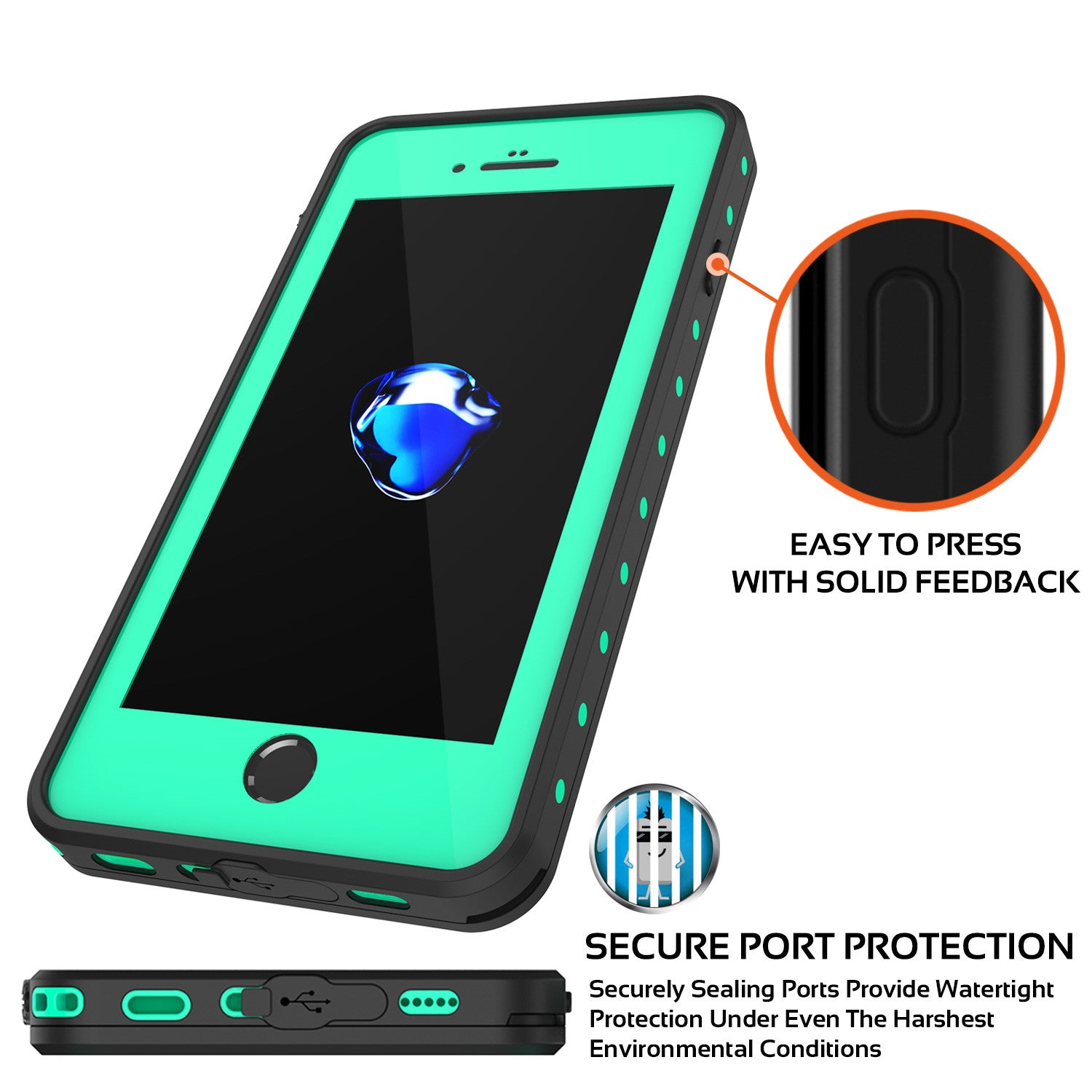 iPhone 7+ Plus Waterproof IP68 Case, Punkcase [Teal] [StudStar Series] [Slim Fit] [Dirtproof]