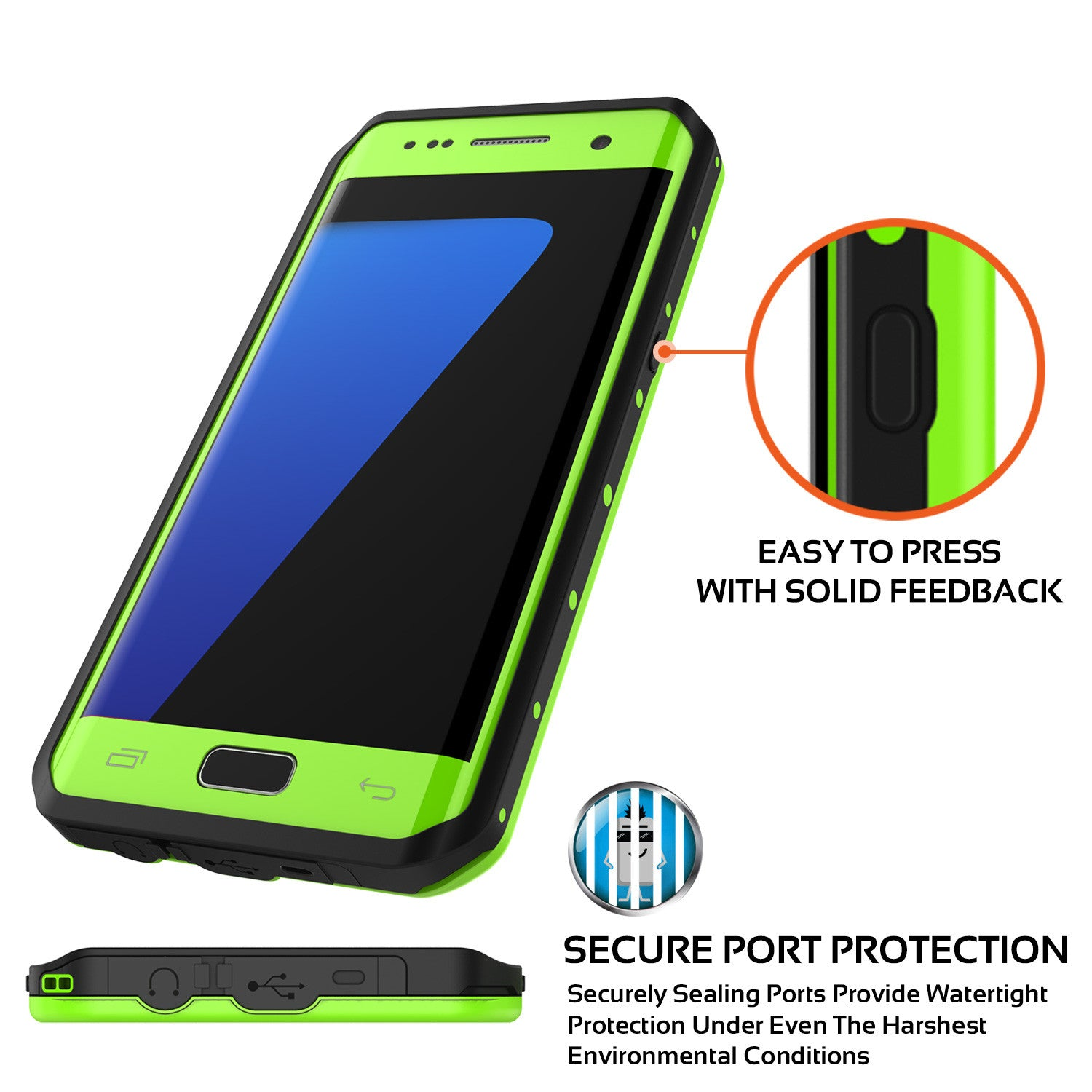 Galaxy S7 EDGE Waterproof Case PunkCase StudStar Light Green Thin 6.6ft Underwater IP68 ShockProof