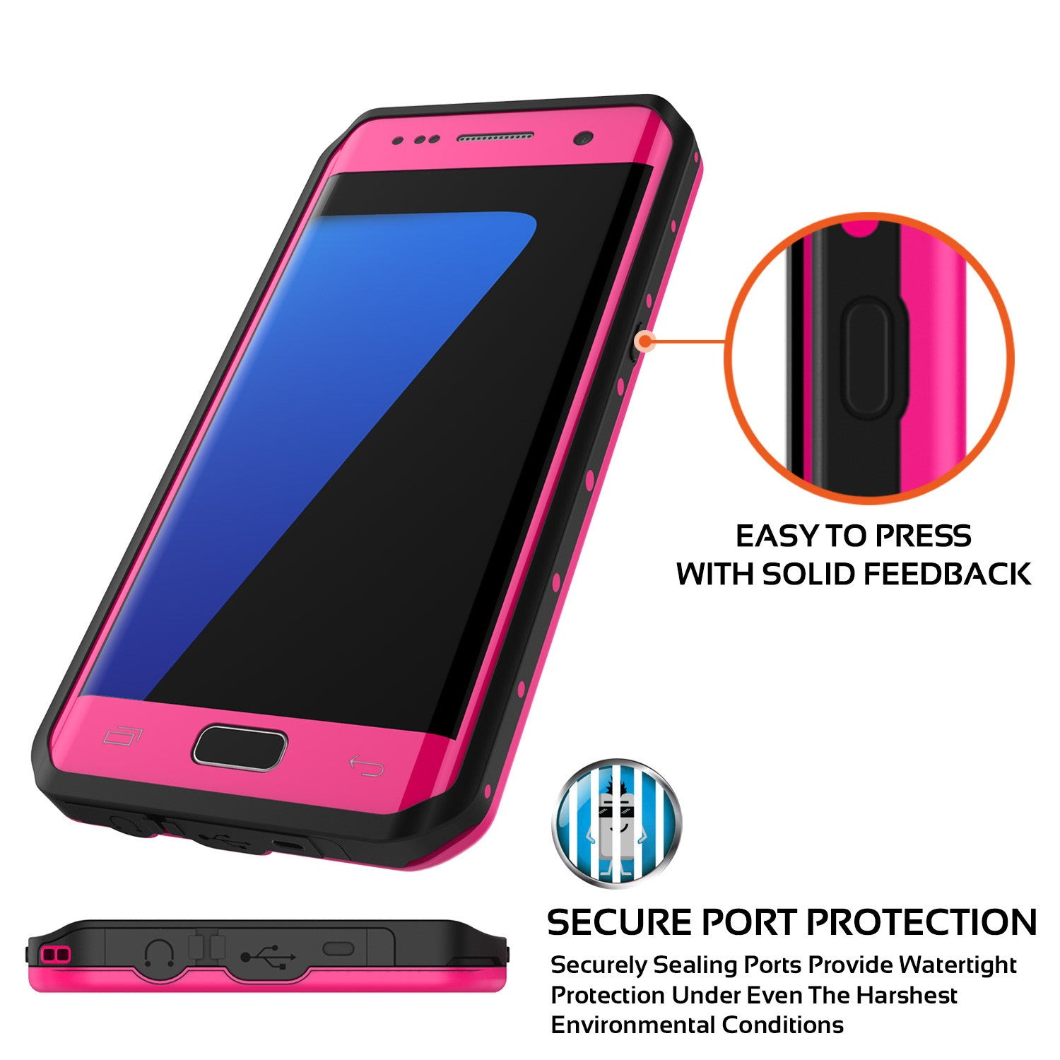 Galaxy S7 EDGE Waterproof Case PunkCase StudStar Pink Thin 6.6ft Underwater IP68 Shock/Snow Proof