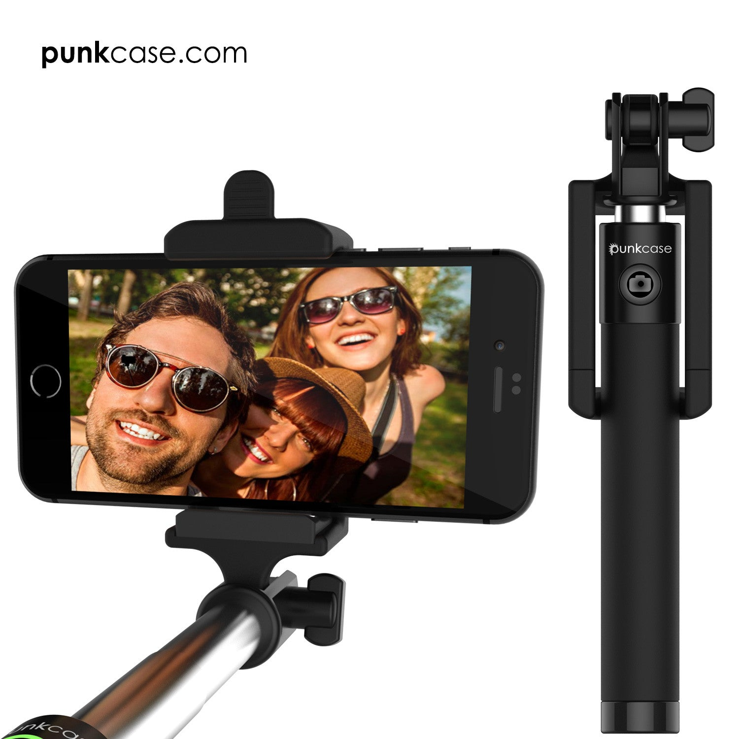 Selfie Stick - Black, Extendable Monopod with Built-In Bluetooth Remote Shutter