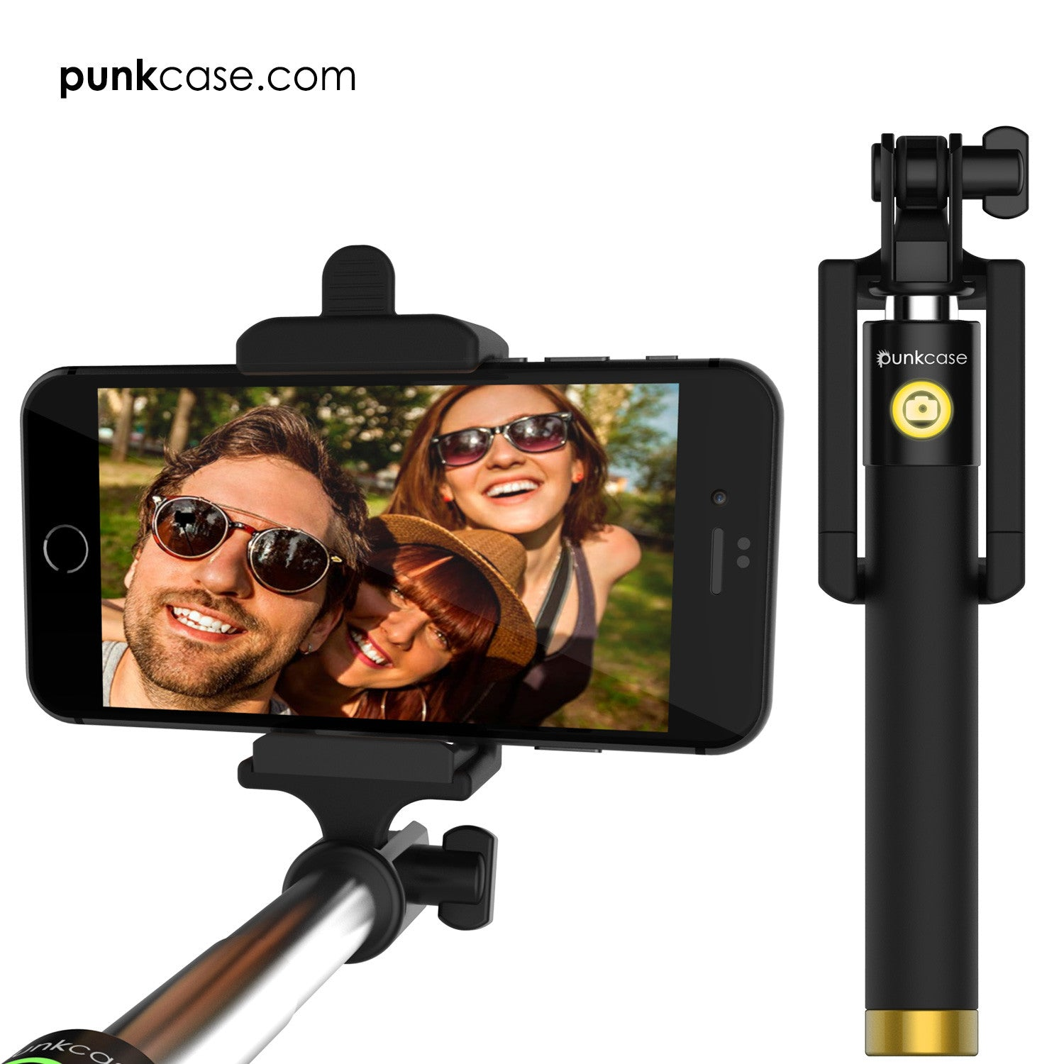 Selfie Stick - Gold, Extendable Monopod with Built-In Bluetooth Remote Shutter