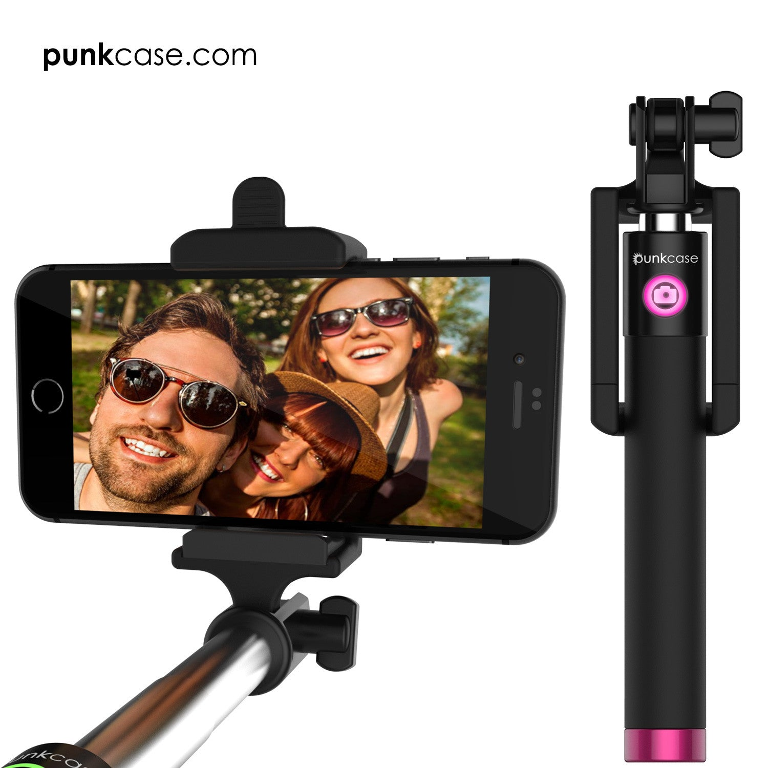 Selfie Stick Pink, Extendable Monopod with Built-In Bluetooth Remote Shutter