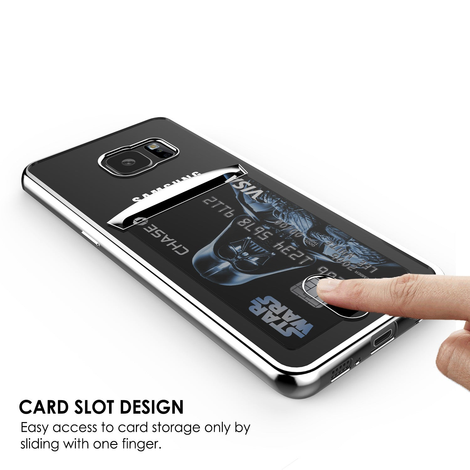 Galaxy S7 EDGE Case, PUNKCASE® LUCID Silver Series | Card Slot | SHIELD Screen Protector | Ultra fit