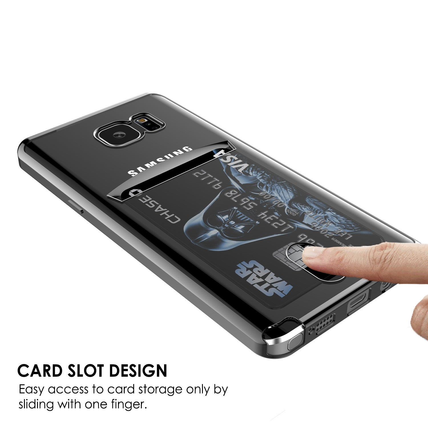 Galaxy Note 5 Case, PUNKCASE® LUCID Black Series | Card Slot | SHIELD Screen Protector | Ultra fit