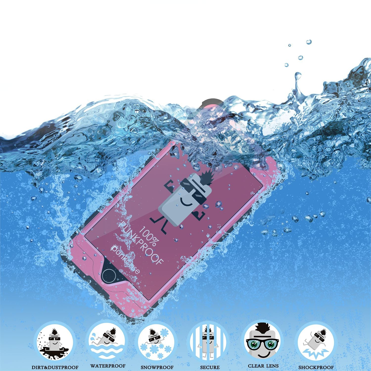 iPhone 6s/6 Waterproof Case, PunkCase StudStar Pink w/ Attached Screen Protector | Lifetime Warranty