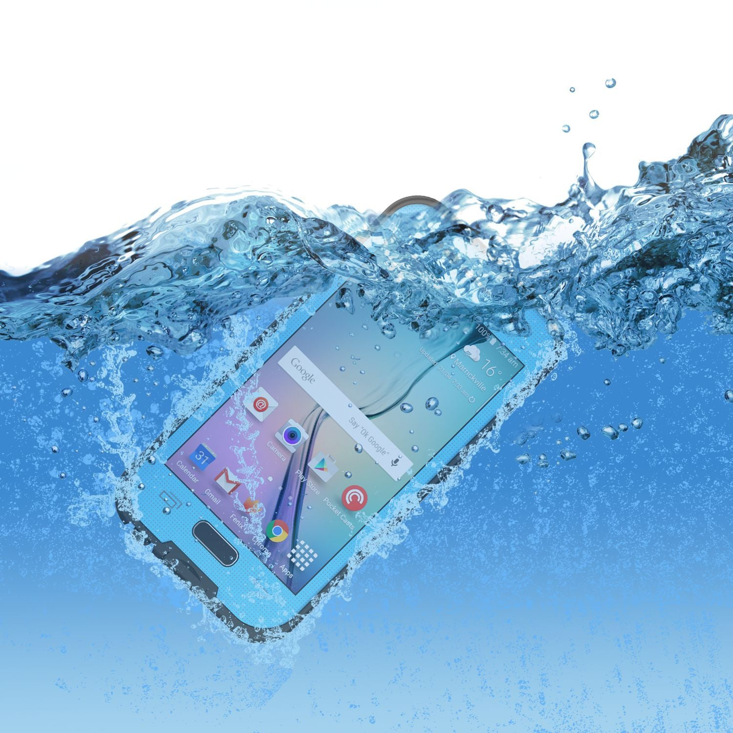 Galaxy S6 Waterproof Case, Punkcase SpikeStar Light Blue Water/Shock/Dirt Proof | Lifetime Warranty