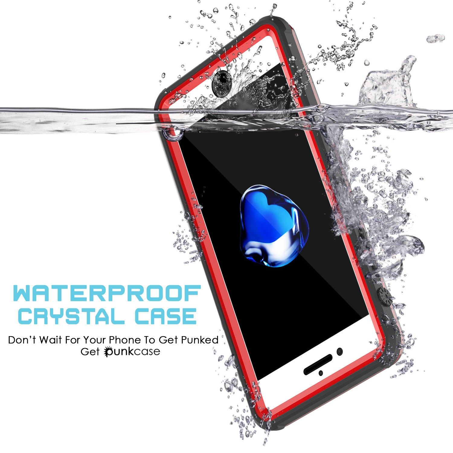 iPhone 7+ Plus Waterproof Case, PUNKcase CRYSTAL Red W/ Attached Screen Protector  | Warranty