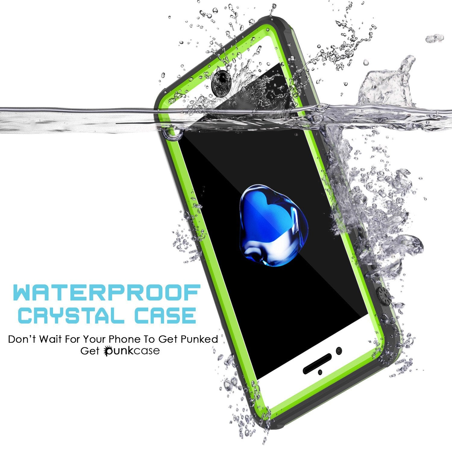 iPhone 8+ Plus Waterproof Case, PUNKcase CRYSTAL Light Green  W/ Attached Screen Protector  | Warranty
