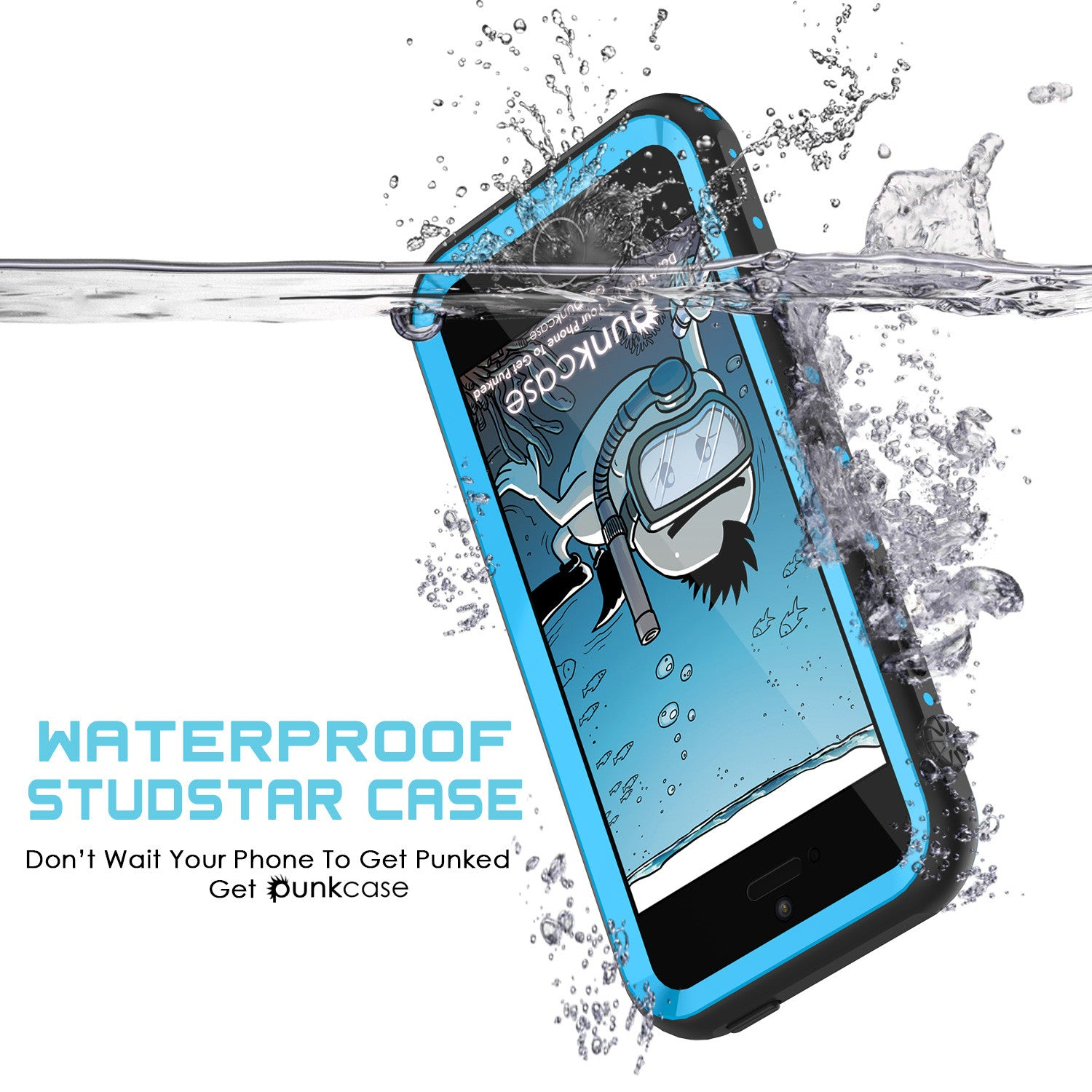 iPhone SE/5S/5 Waterproof Case PunkCase StudStar Light Blue Shock/Dirt/Snow Proof, Lifetime Warranty