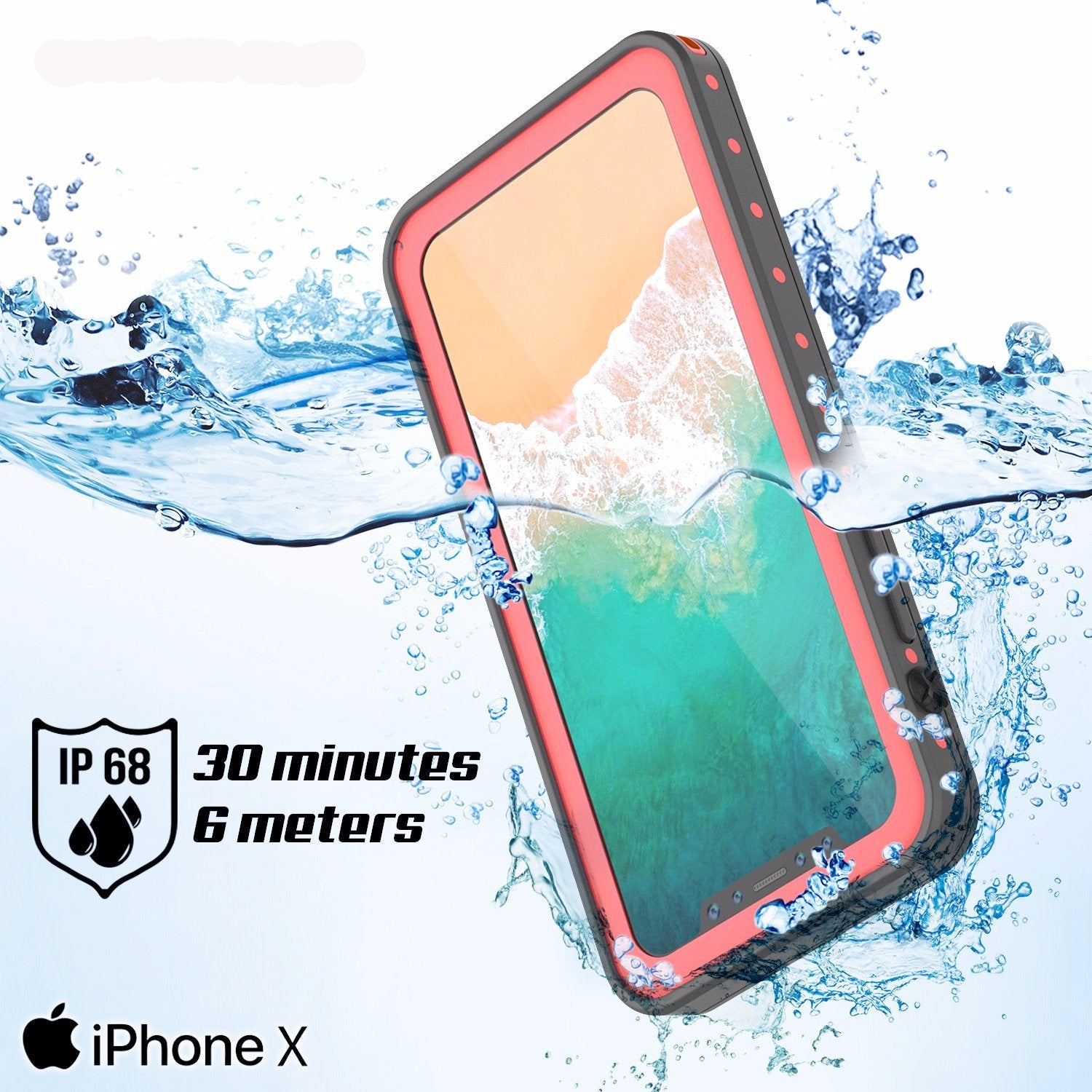 iPhone X Waterproof IP68 Case, Punkcase [Purple] [StudStar Series] [Slim Fit] [Dirtproof]