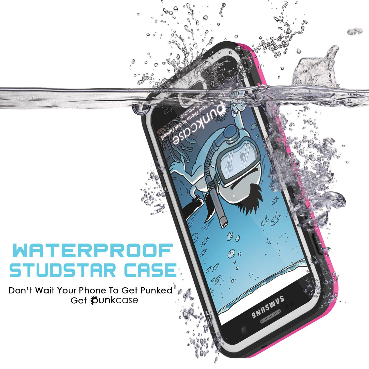 Galaxy S7 Waterproof Case PunkCase StudStar Pink Thin 6.6ft Underwater IP68 Shock/Dirt/Snow Proof
