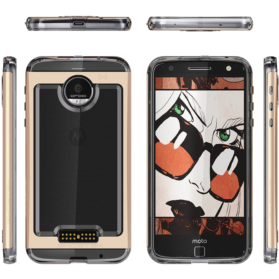 Motorola Moto Z Force Case, Ghostek Cloak 2.0 Gold Series w/ Screen Protector | Aluminum Frame