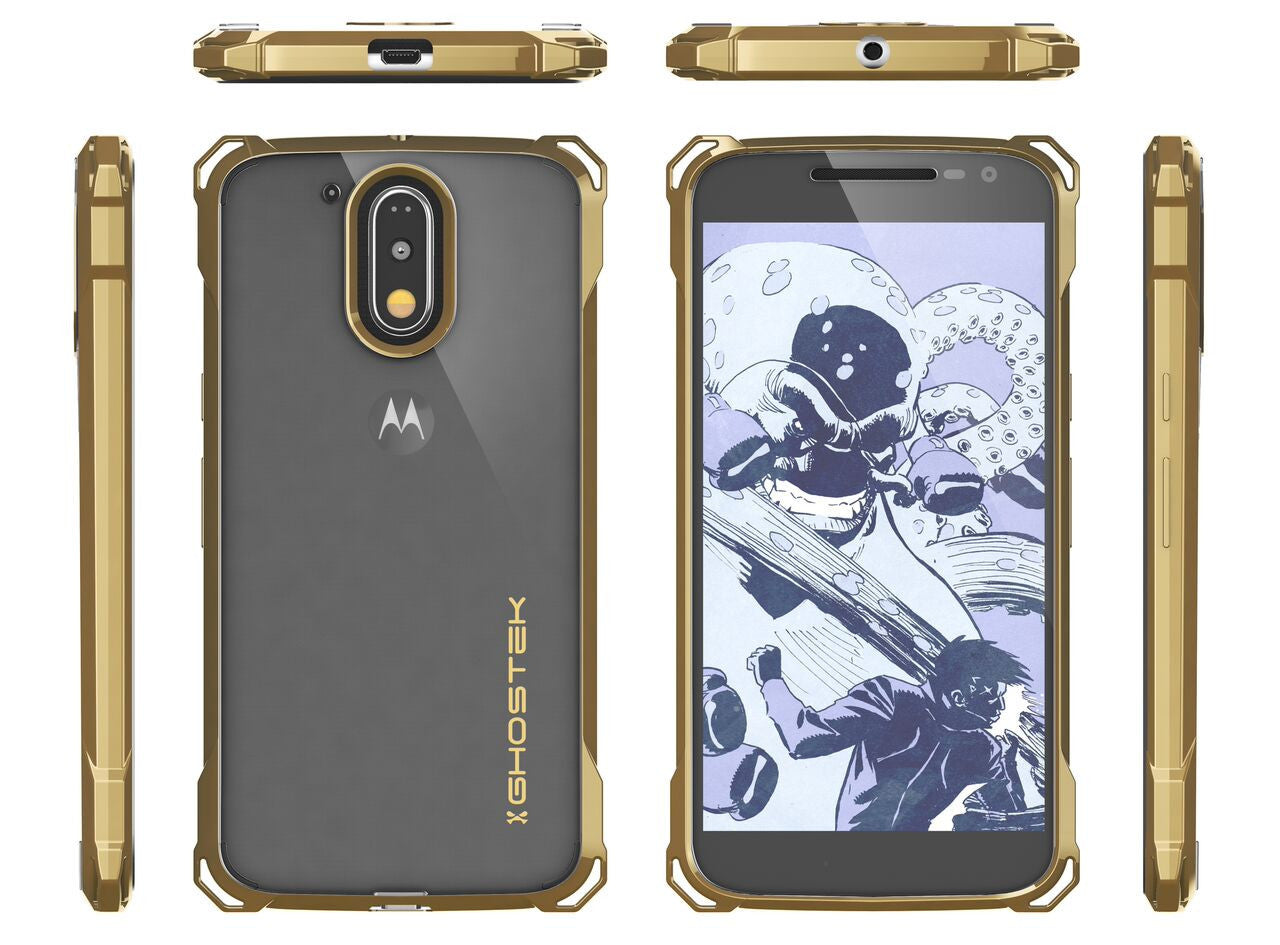 Moto G4 Case, Ghostek Covert Gold Series | Clear TPU | Explosion-Proof Screen Protector | Ultra Fit