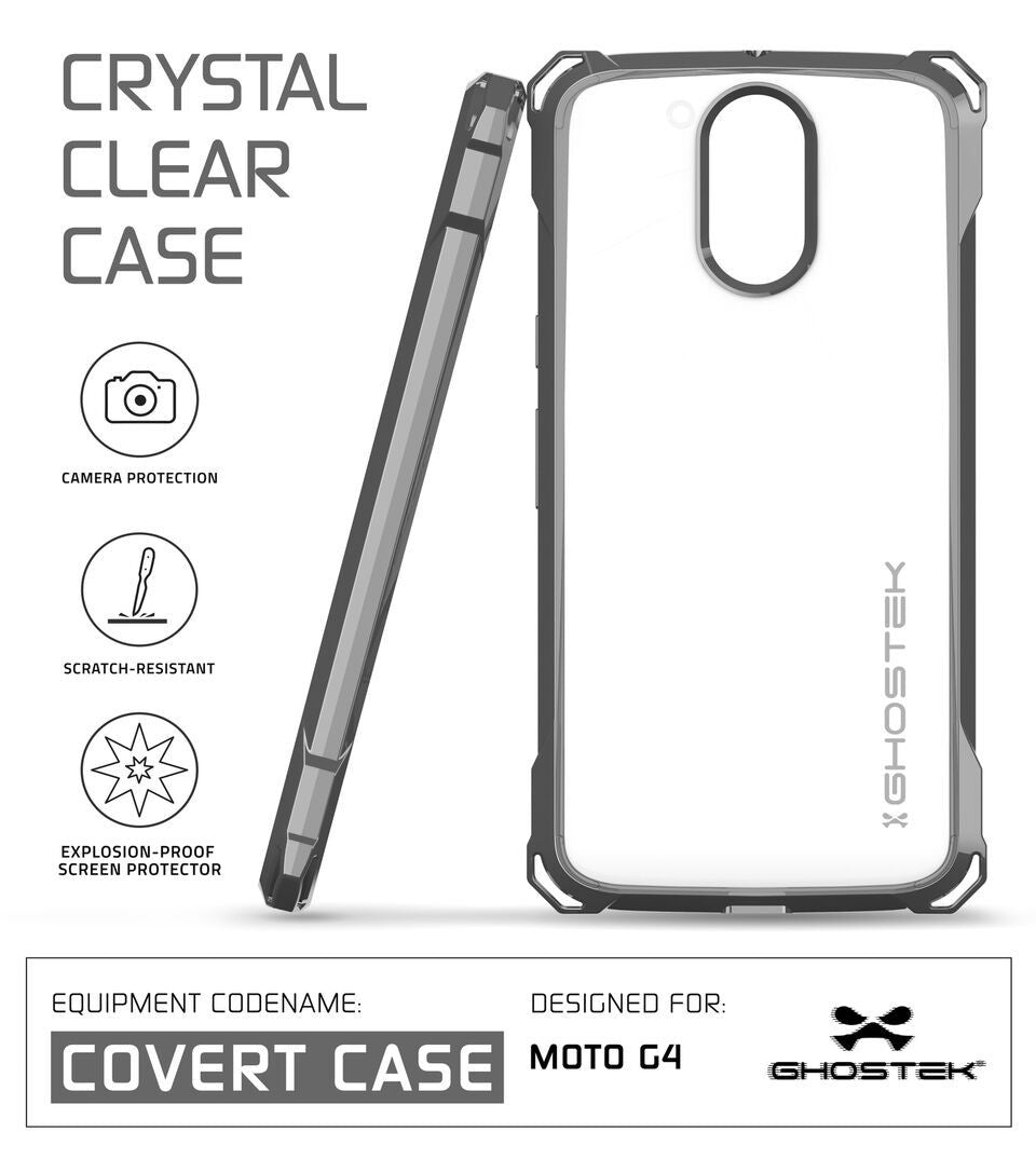 Moto G4 Case, Ghostek Covert Dark Grey Series | Clear TPU | Explosion-Proof Screen Protector