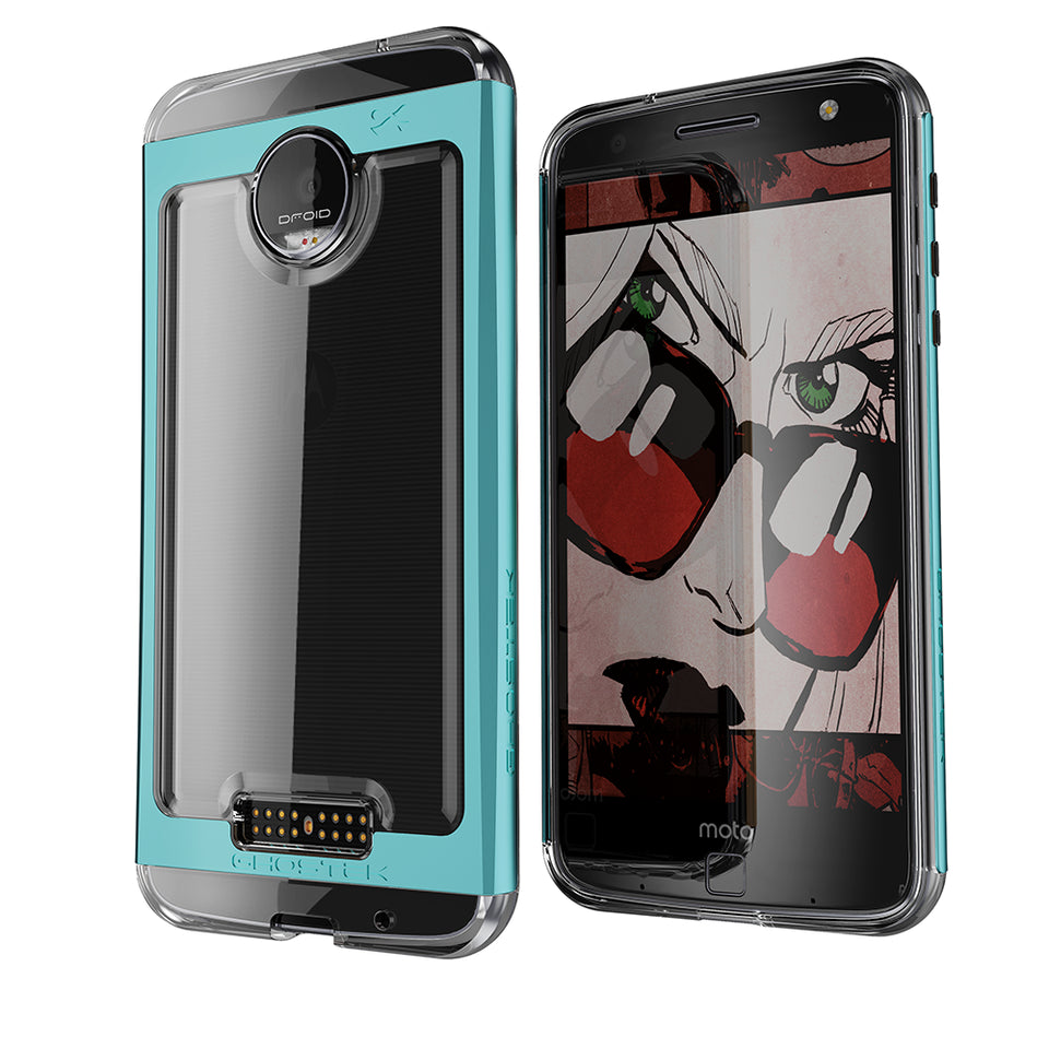 Motorola Moto Z Force Case, Ghostek Cloak 2.0 Teal Series w/ Screen Protector | Aluminum Frame