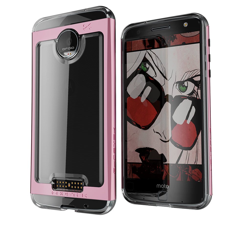 Motorola Moto Z Force Case, Ghostek Cloak 2.0 Pink Series w/ Screen Protector | Aluminum Frame