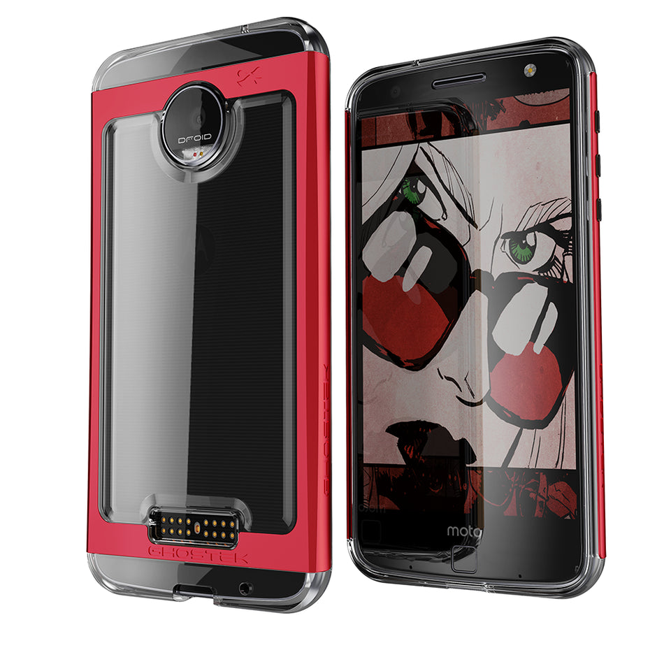 Motorola Moto Z Force Case, Ghostek Cloak 2.0 Red Series w/ Screen Protector | Aluminum Frame