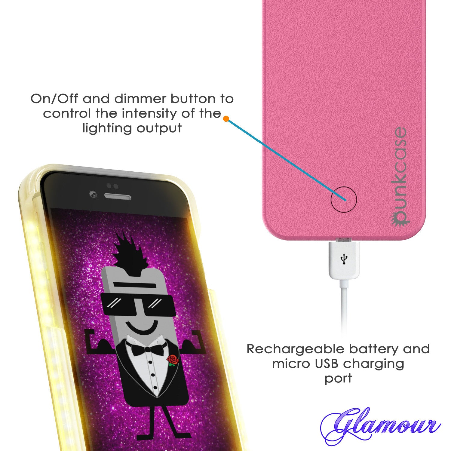 iPhone 6+/6S+ Plus Punkcase LED Light Case Light Illuminated Case, Pink W/  Battery Power Bank