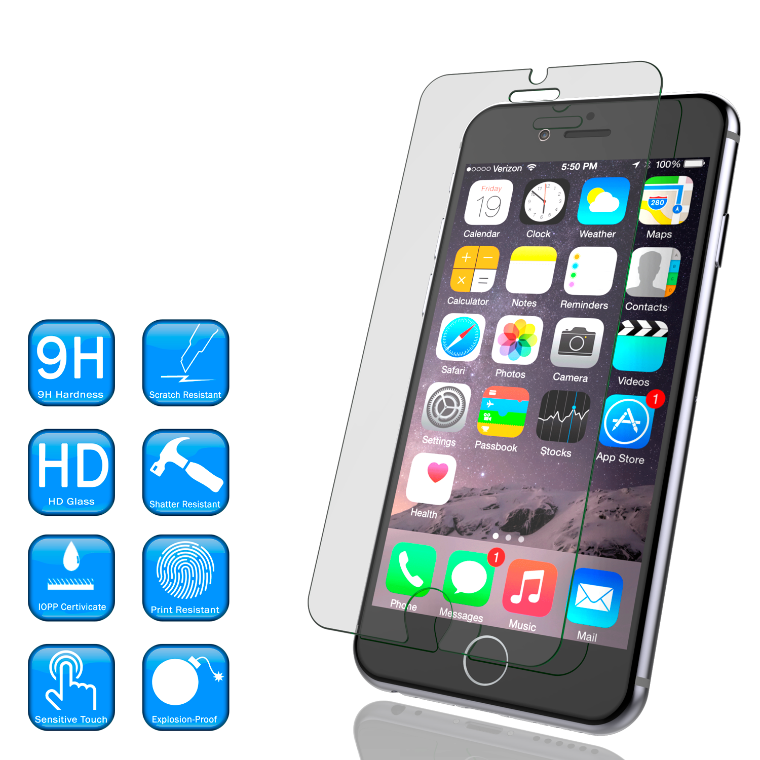 iPhone 6/6s Plus Clear Punkcase Glass SHIELD Tempered Glass Screen Protector 0.33mm Thick 9H Glass
