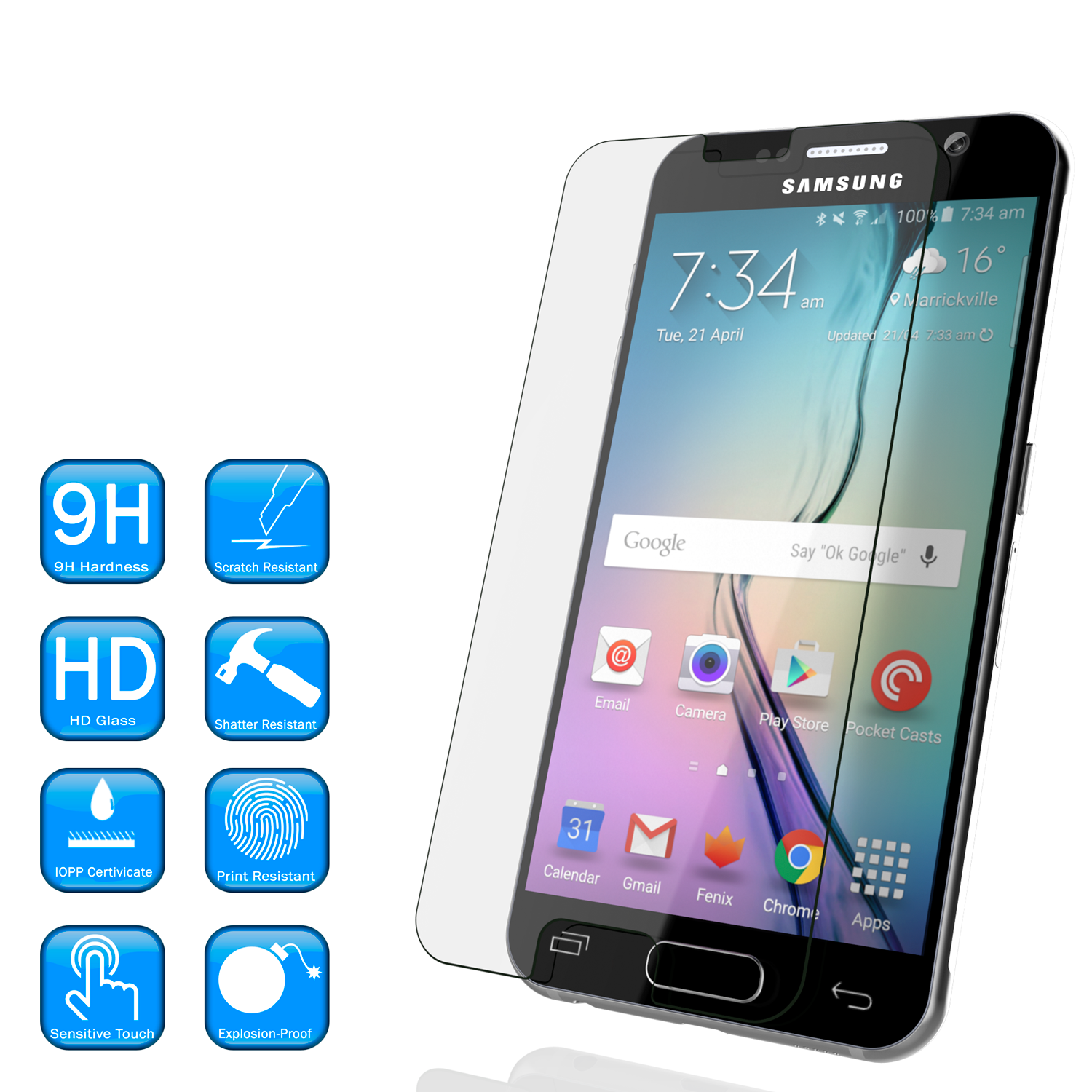 Galaxy s5 Punkcase Glass SHIELD Tempered Glass Screen Protector 0.33mm Thick 9H Glass Screen