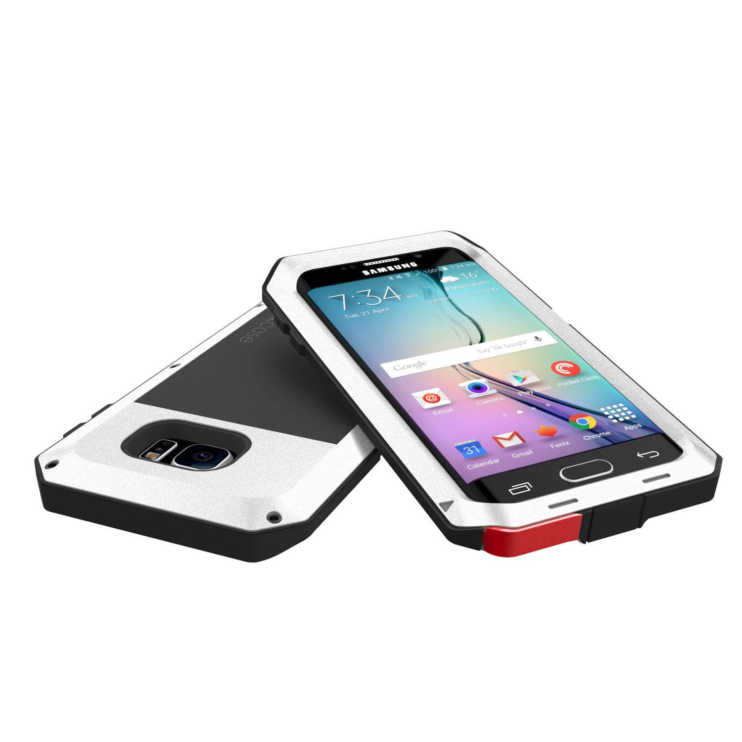 Galaxy S6 EDGE  Case, PUNKcase Metallic White Shockproof  Slim Metal Armor Case
