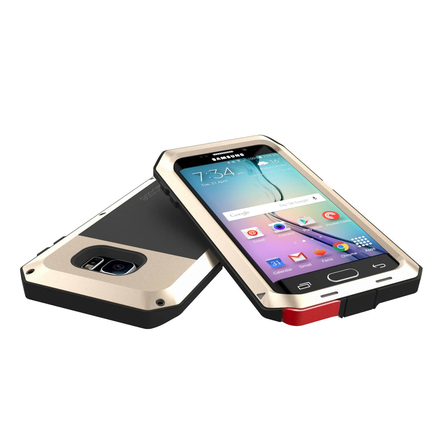 Galaxy S6 EDGE  Case, PUNKcase Metallic Gold Shockproof  Slim Metal Armor Case