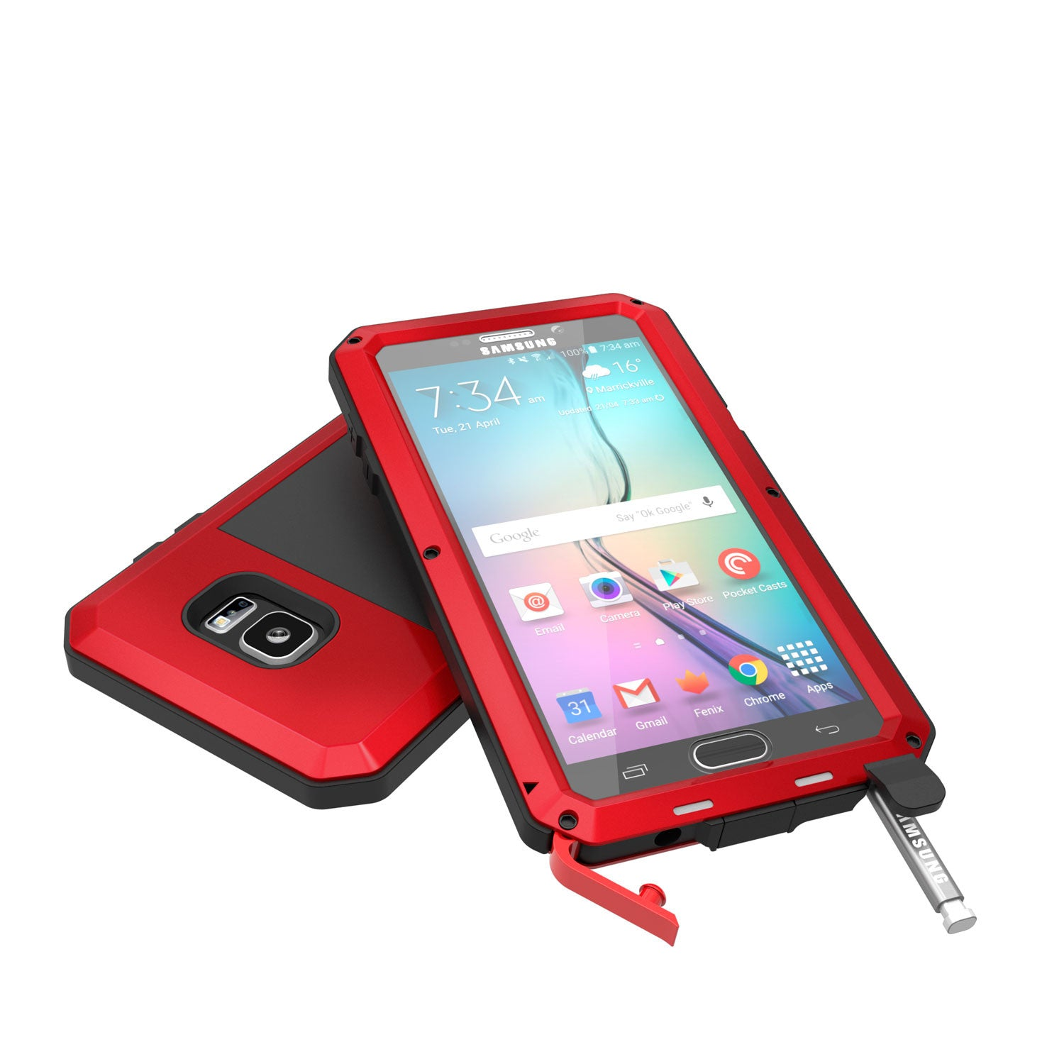 Note 5 Case, Punkcase® METALLIC Series RED w/ TEMPERED GLASS | Aluminum Frame