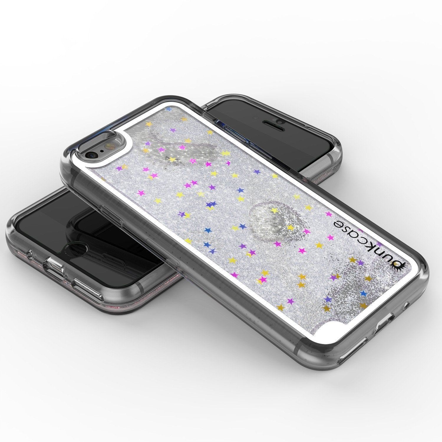 iPhone 8 Case, PunkCase LIQUID Silver Series, Protective Dual Layer Floating Glitter Cover
