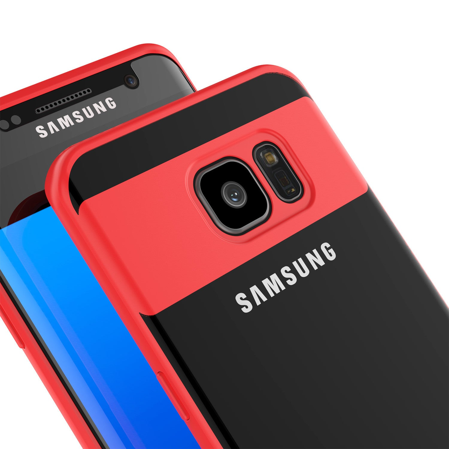 Galaxy S7 Edge Case [MASK Series] [RED] Full Body Hybrid Dual Layer TPU Cover W/ Protective PUNKSHIELD Screen Protector