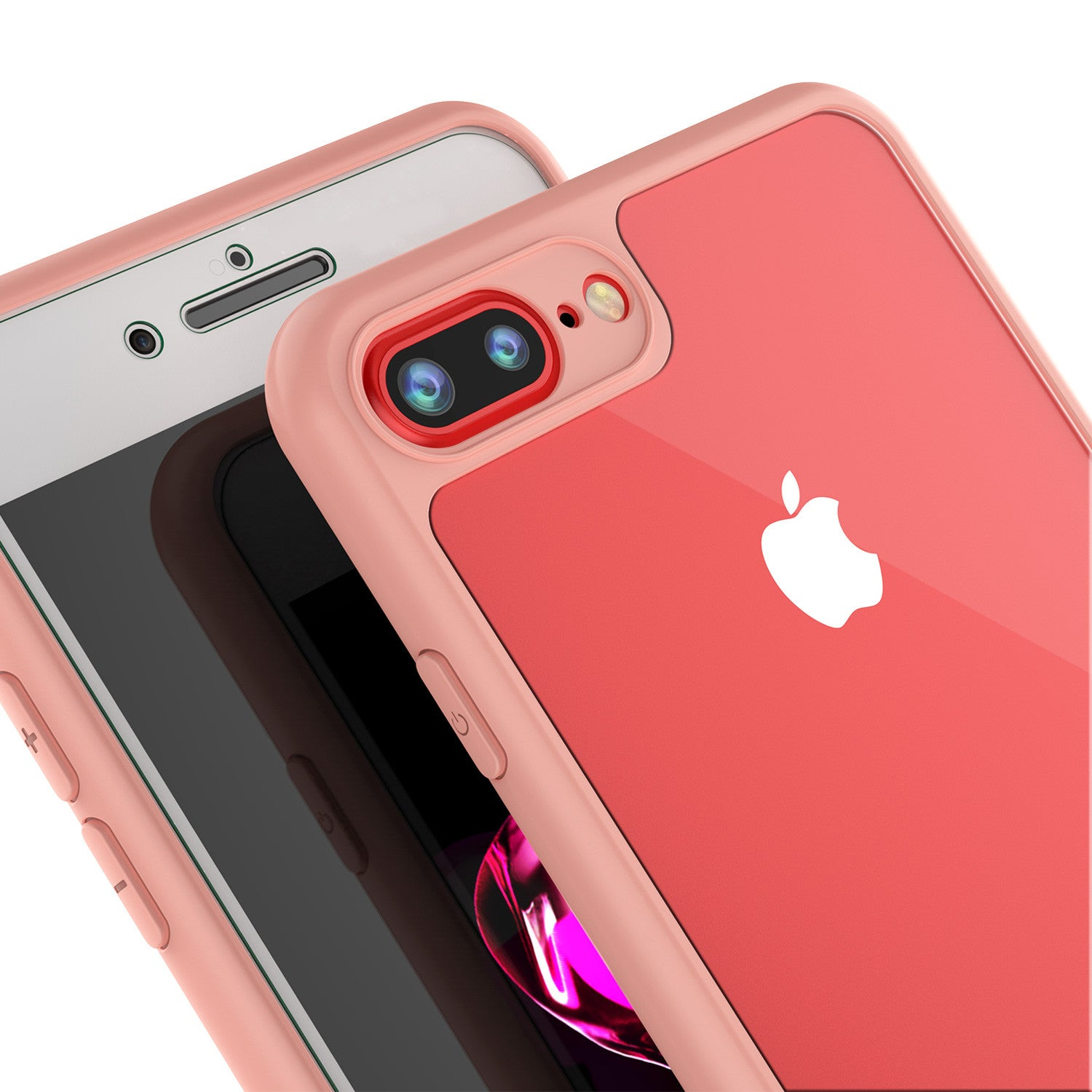 iPhone 7+ Plus Case [MASK Series] [PINK] Full Body Hybrid Dual Layer TPU Cover W/ protective Tempered Glass Screen Protector