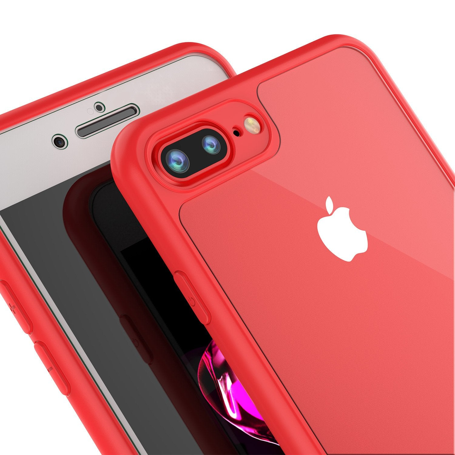 sale retailer 7048b 7fefa iPhone 8+ Plus Case [MASK Series] [RED] Full Body Hybrid Dual Layer TP