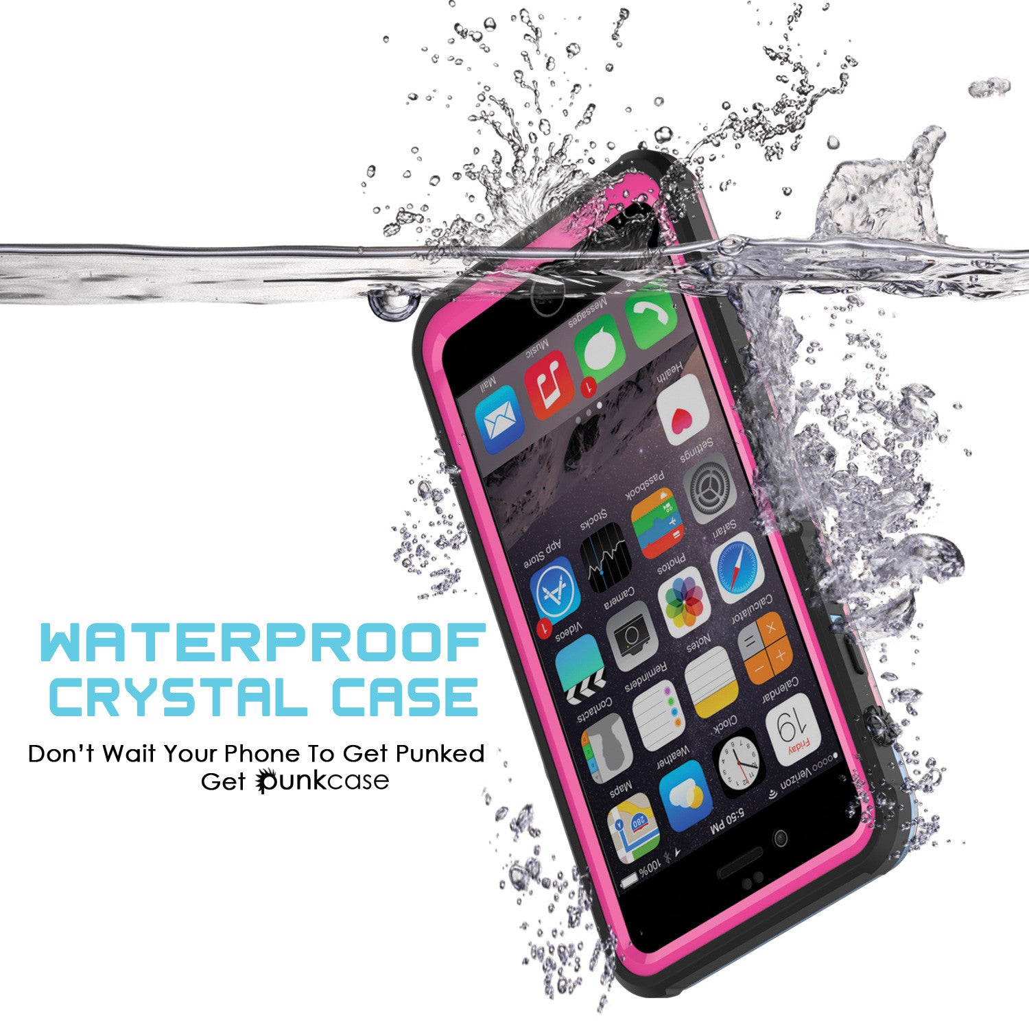 iPhone 6/6S Waterproof Case, PUNKcase CRYSTAL Pink W/ Attached Screen Protector  | Warranty