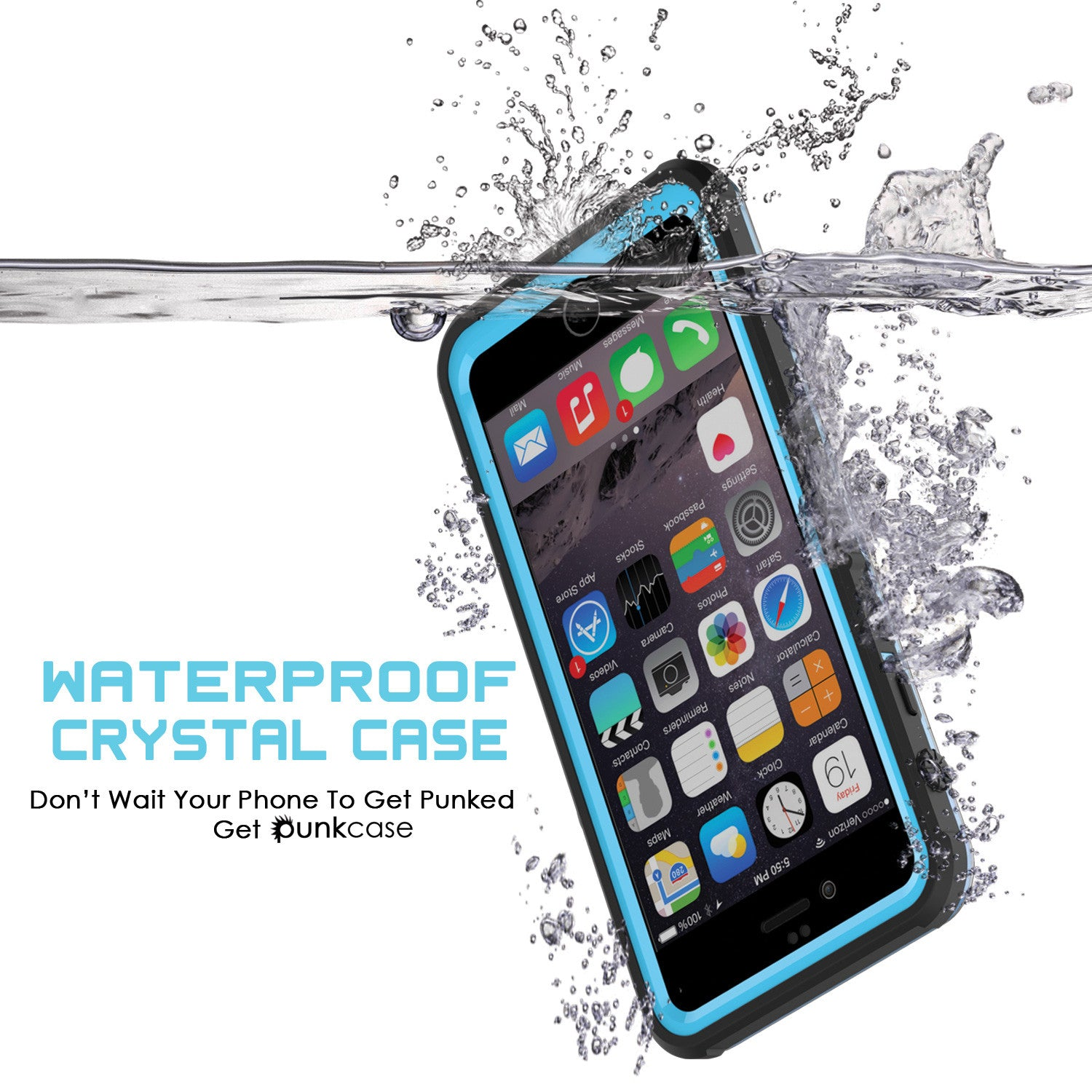 iPhone 6/6S Waterproof Case, PUNKcase CRYSTAL Light Blue  W/ Attached Screen Protector  | Warranty