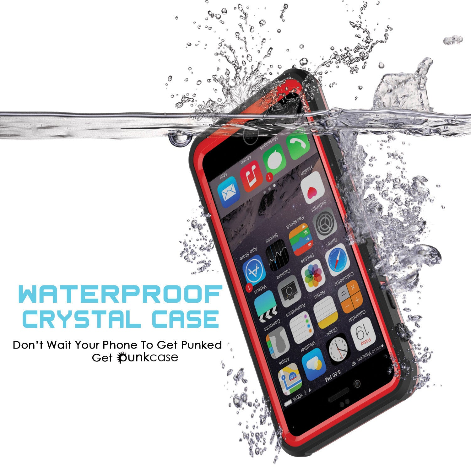 iPhone 6+/6S+ Plus Waterproof Case, PUNKcase CRYSTAL Red W/ Attached Screen Protector | Warranty