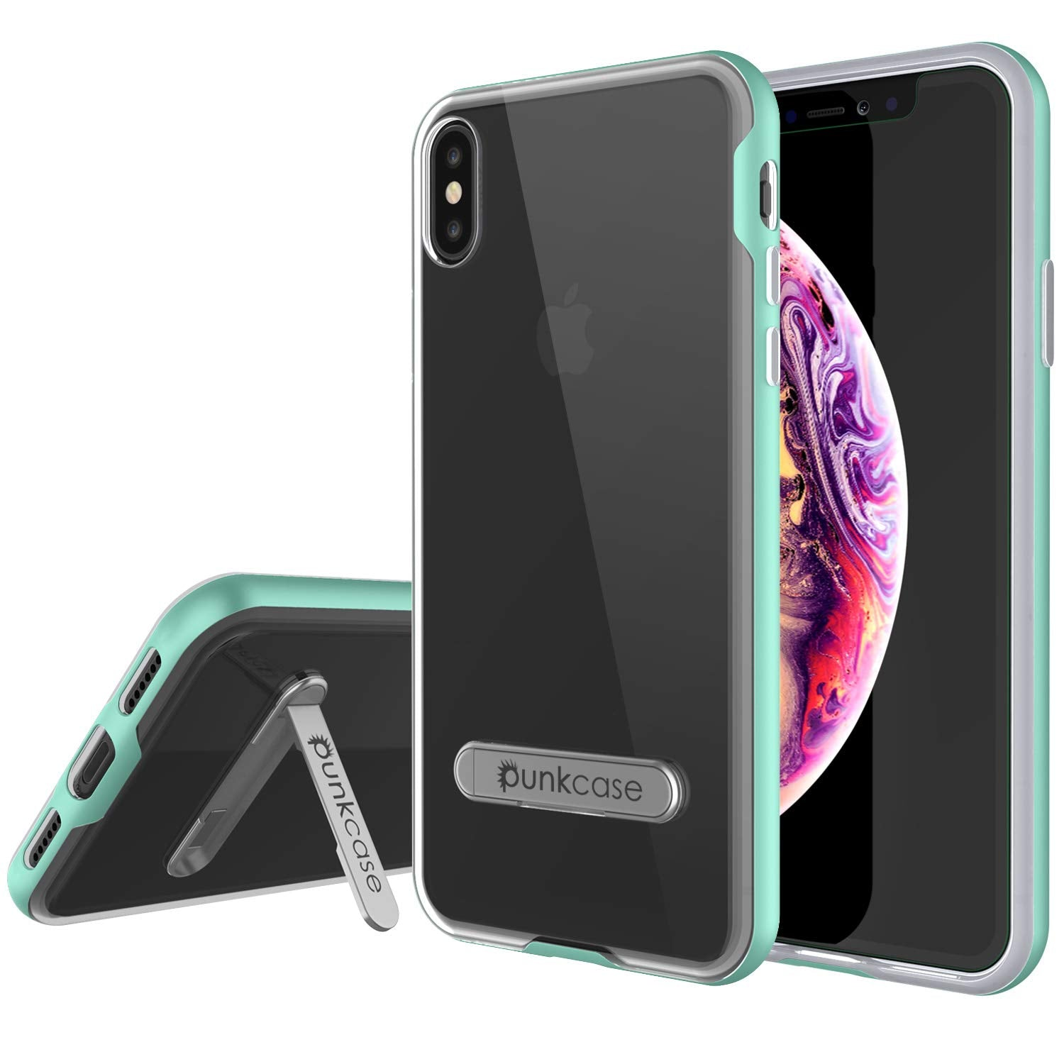 iPhone XS Max Case, PUNKcase [LUCID 3.0 Series] [Slim Fit] Armor Cover w/ Integrated Screen Protector [Teal]