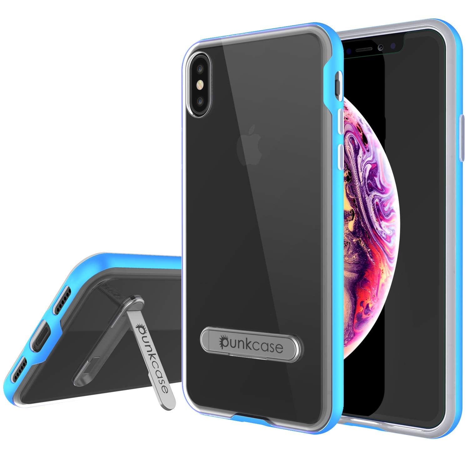 iPhone XS Max Case, PUNKcase [LUCID 3.0 Series] [Slim Fit] Armor Cover w/ Integrated Screen Protector [Blue]