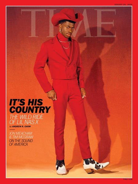 lil nas wears pskaufman on the cover of time magazine styled by hodo vodo