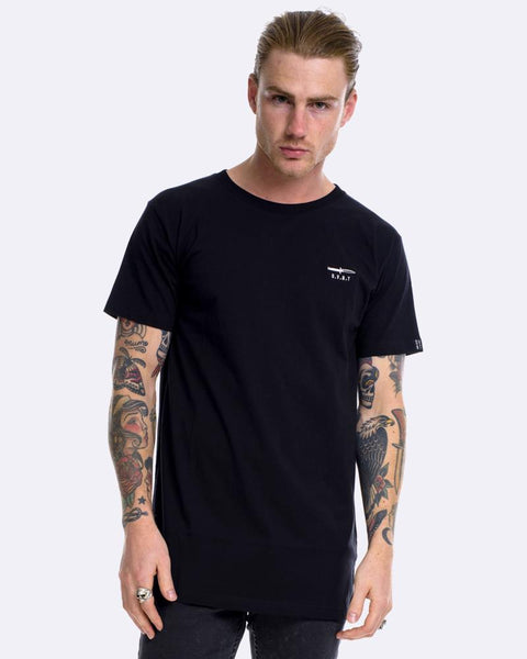 SWITCHBLADE EMBROIDERY TEE - BLACK