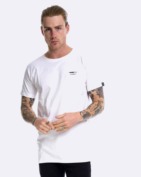 SWITCHBLADE EMBROIDERY TEE - WHITE