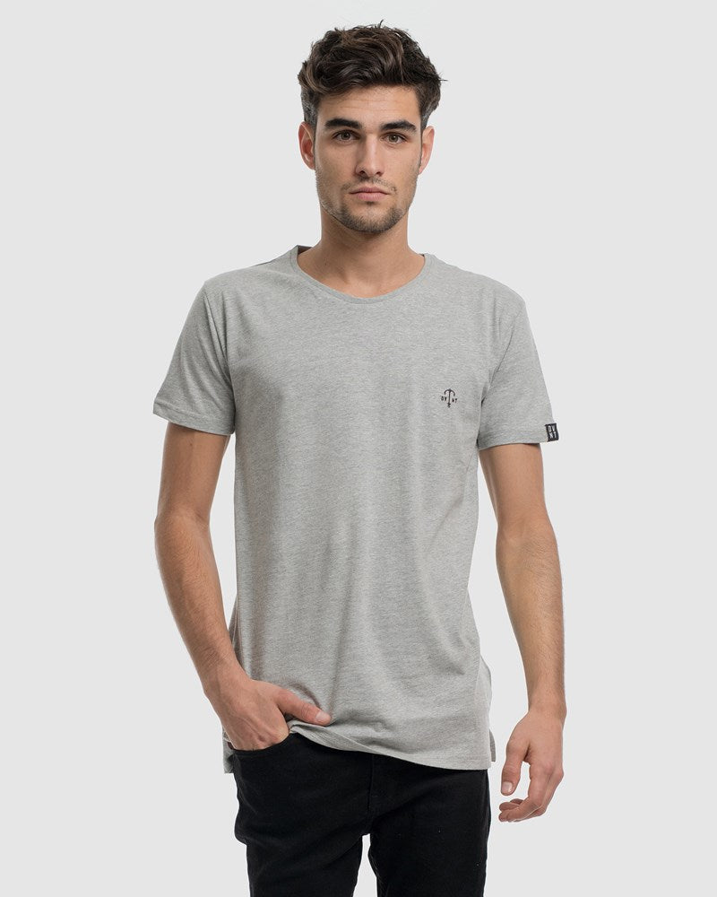 Anchor Embroidery Tee - Grey Marle