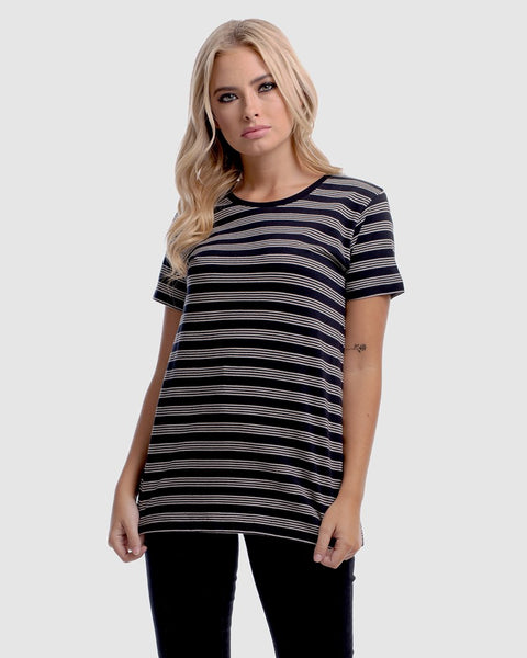 WOMENS DEVOID STANDARD TEE - STRIPE QUAD BLACK