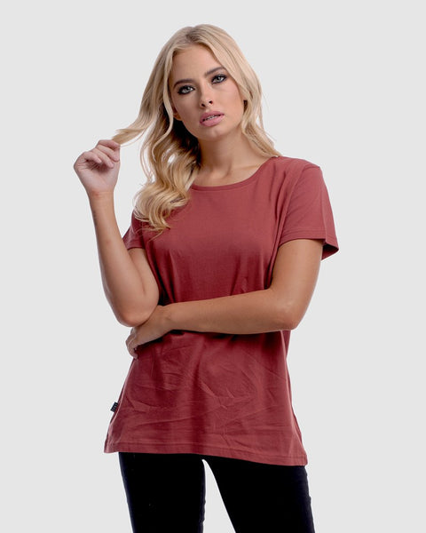 WOMENS DEVOID STANDARD TEE - RUST