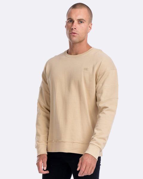 PANELLED OFF-SHOULDER CREW - CAMEL