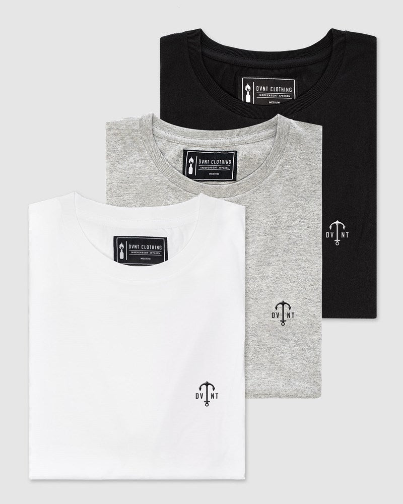 3 Pack Anchor Embroidery Tee - (Black, White, Grey Marle)
