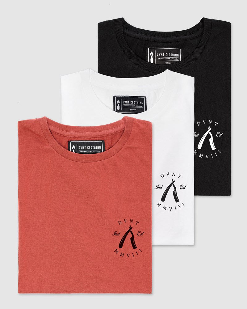 3 Pack Rough Cuts Tee - Black, Rust & White