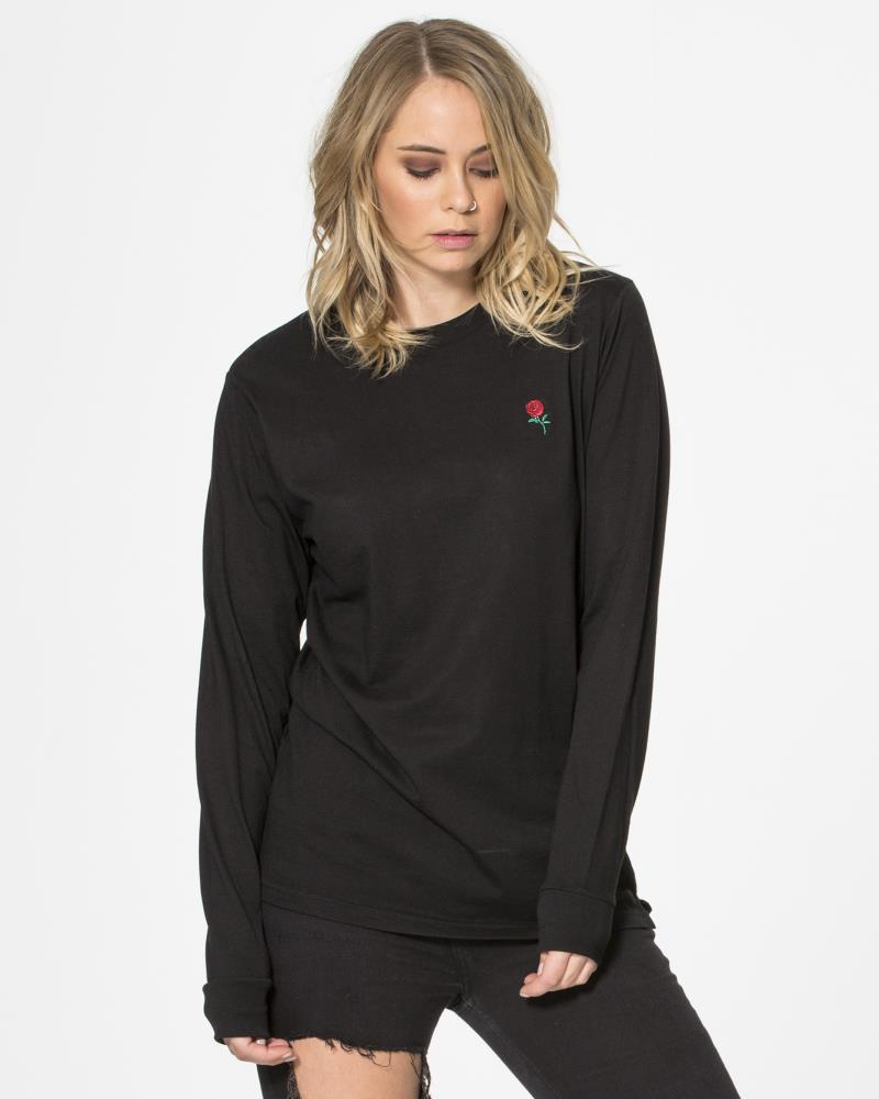AUTUMN ROSE LONG SLEEVE TEE - BLACK